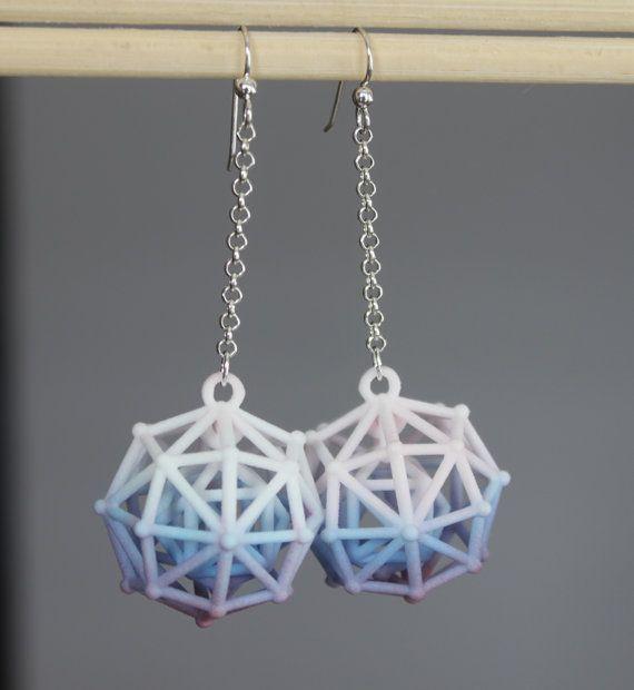 Long Earrings 3Dprinted jewelry Lightweight statement by kormar