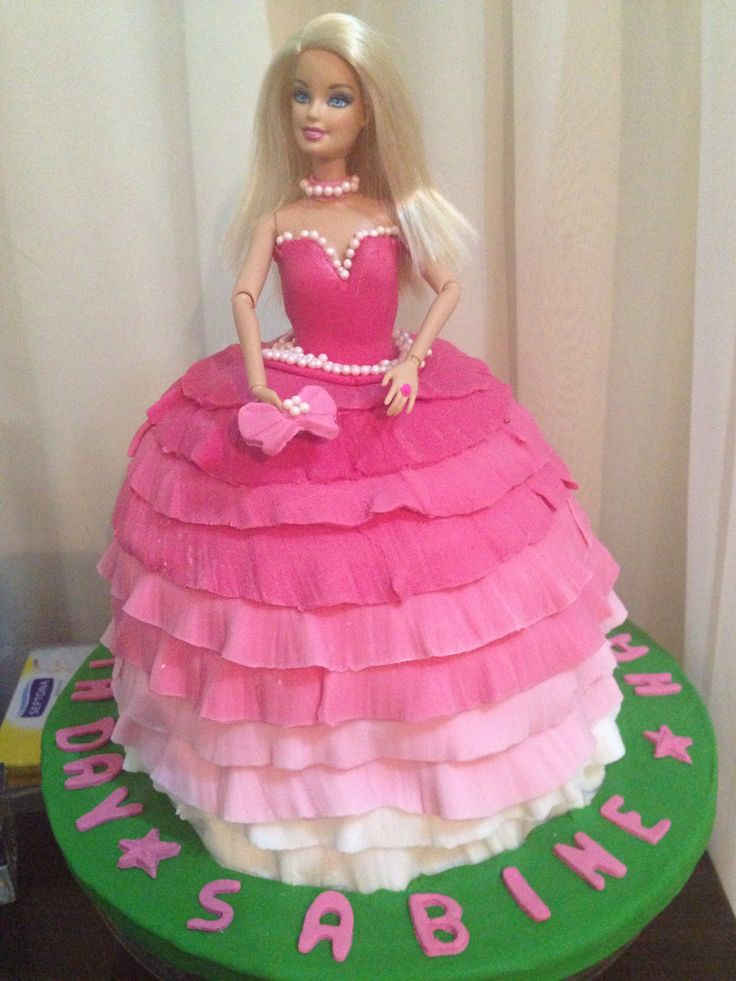 Images Of Barbie Birthday Cake : Pink barbie princess birthday cake.. Home made cake ...