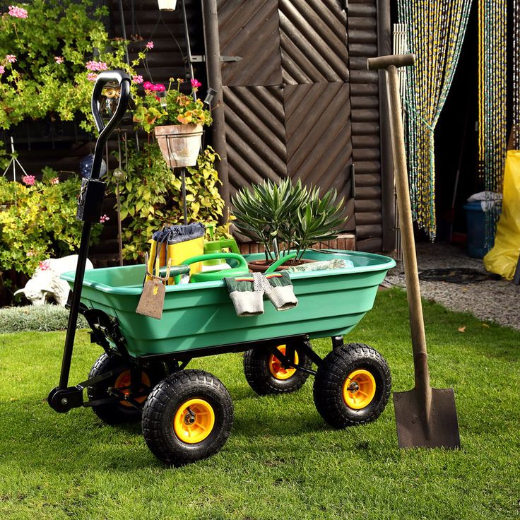 Carriola carrello 4 ruote ribaltabile carriola giardino capacità 200 kg