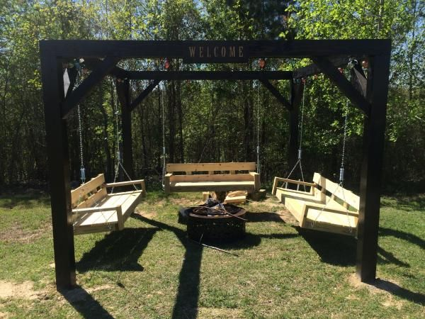 Fire Pit Swings | Do It Yourself Home Projects from Ana White   I just want a yard big enough to have this!