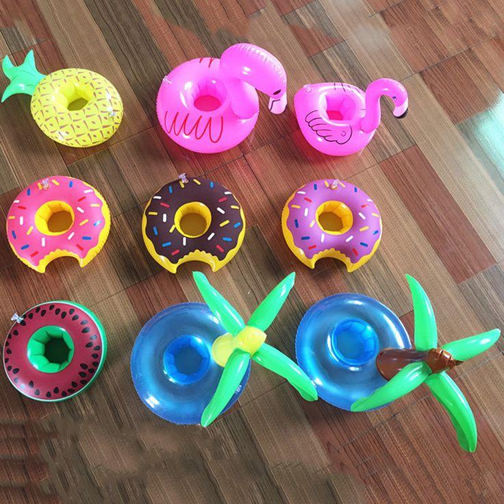 1 Pcs Mini Lucu Lucu Mainan Flamingo Mengambang Merah Drink Holder Tiup Kolam renang Bathing Beach Party Anak Bath Toy CBT04