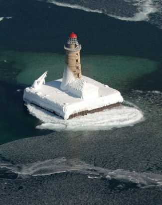 Spectacle Reef Lighthouse is located in Lake Huron 10.7 miles east of the eastern end of Bois Blanc Island, near Cheboyan, Michigan.