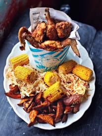JFC: Jamie's Fried Chicken with sweet potato wedges, slaw 'n corn on the cob Yum!!!