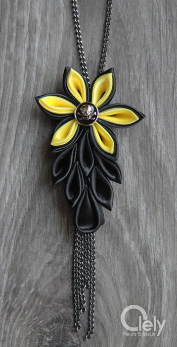 Black and yellow fabric necklace with rhinestone: by OlelyDesign