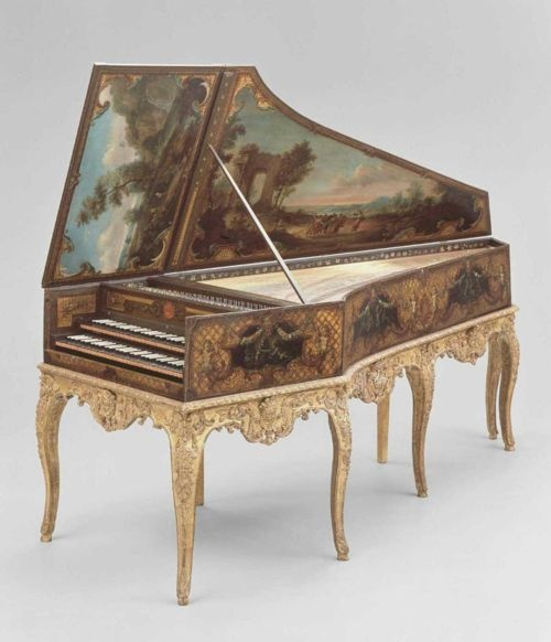 Harpsichord  France, 1736 , These are almost always hand painted with beautiful bucolic  scenes! TG