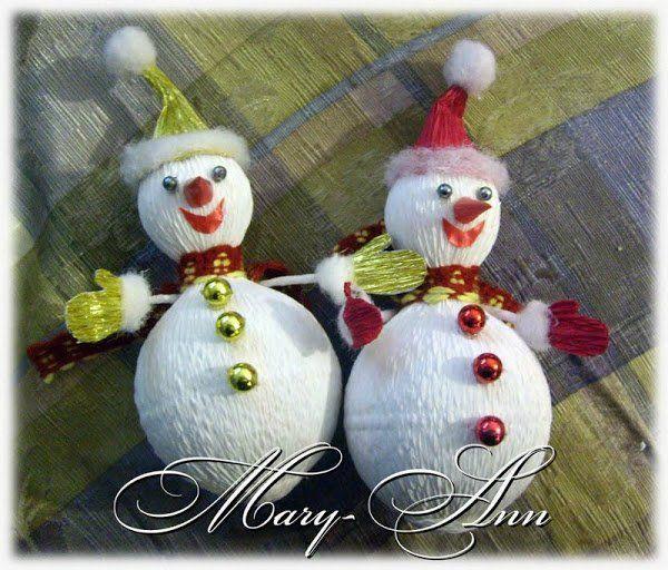Снеговик из конфет. Мастер -класс + видео   Домохозяйка