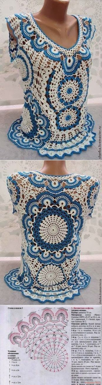 Красивая блузка и салфетка одним узором