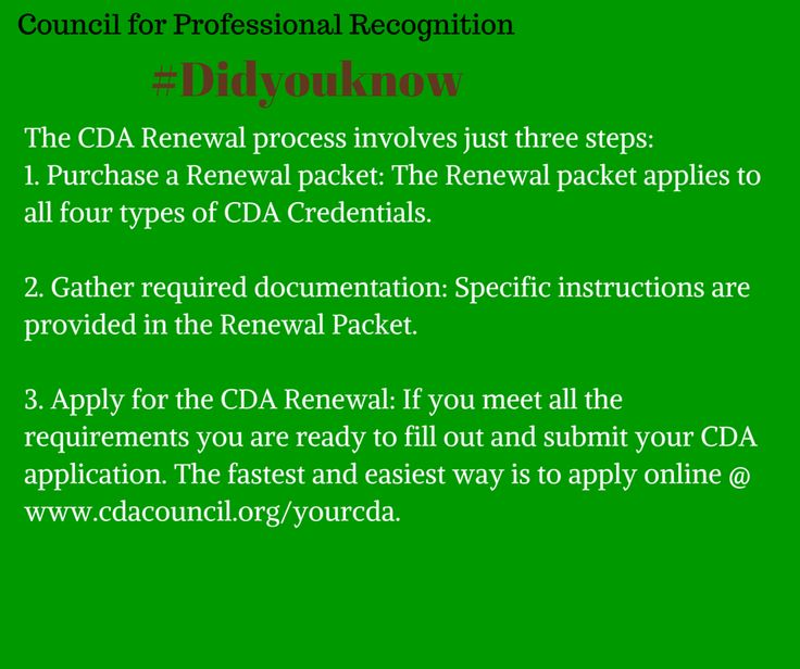 Are you coming up close to the period to Renew your CDA Credential? #Didyouknow you can easily Renew your CDA Online. The Renewal process involves three steps and Candidates are required to meet five criteria that can be found by visiting the CDA Renewal link here, http://www.cdacouncil.org/the-cda-credential/how-to-renew-your-cda