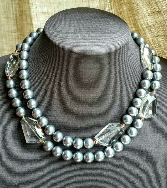 Check out this item in my Etsy shop https://www.etsy.com/ca/listing/245421885/grey-pearl-double-strand-choker-with