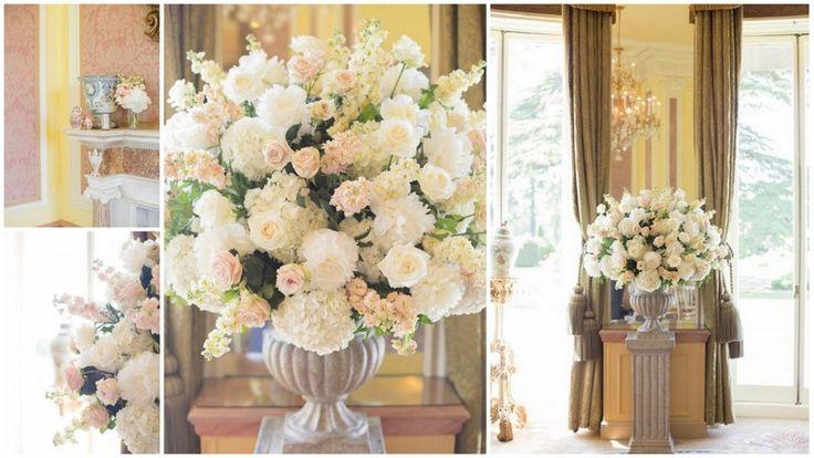 #Wedding flowers arrangement, white hydrangea, white and pink roses, pink sweat pea  #flowersarrangement  #StokePark #summerwedding