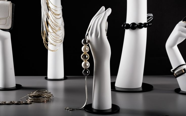 Elegant feminine collection of window display hands. #mannequin #retail #fashion #VisualMerchandising #boutique