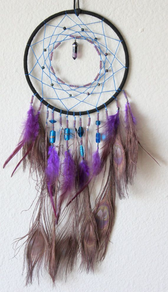 Peacock Feather Dream Catcher with a Fluorite Pendant and Glass Beads - Blue, Purple, & Black