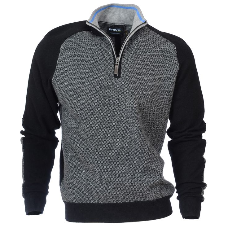 McEire, one of our top golf sweaters this season. A cashmere blend long sleeve 1/4 zip sweater with chest panel quilt design jacquard.