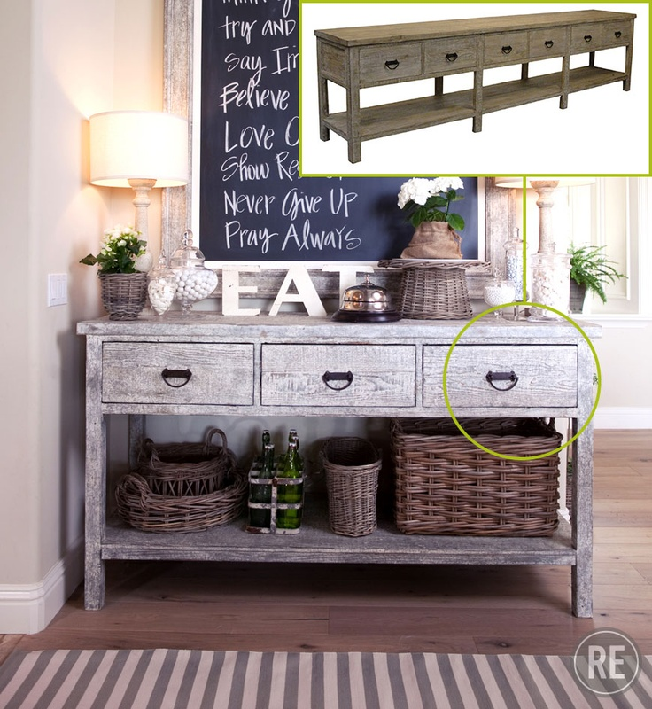 Get this Lumber Console from our Clean Cream home design story.