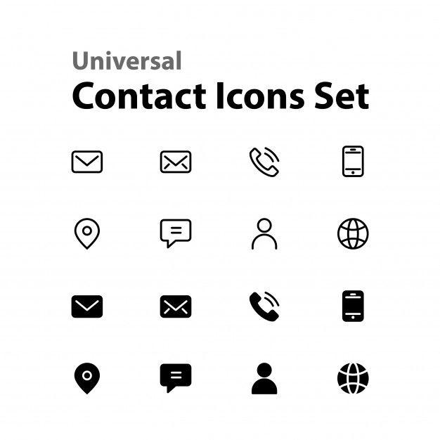 Ensemble D Icones De Contact Universel Icon Set Phone Icon Icon