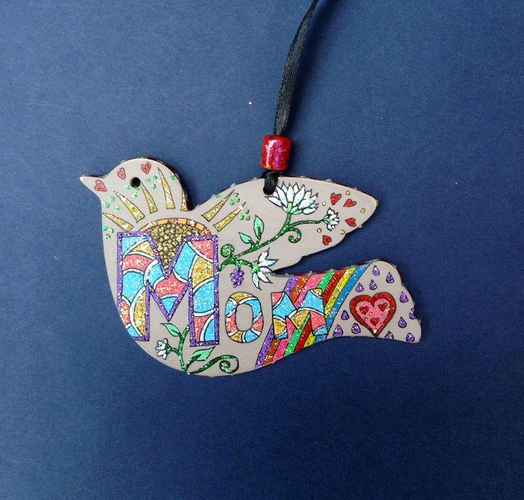 Mom, all hearts, flowers, rainbow and sunshine