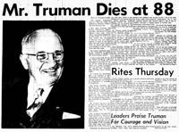 Announcement of Harry Truman's death in the Kansas City Star.  [SHS of MO Newspaper Collection Kansas City Star, December 26, 1972]