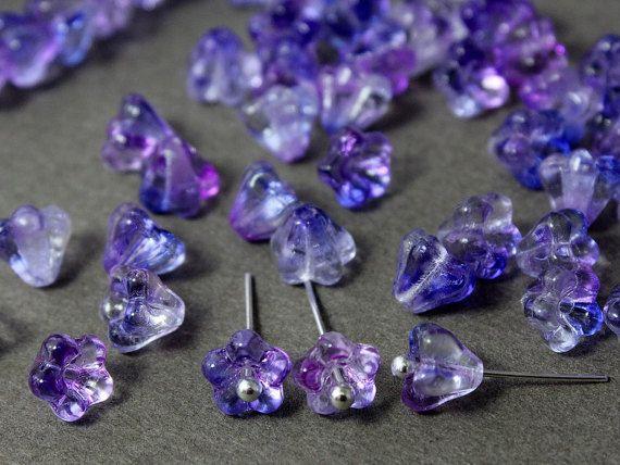 Czech glass Beads Bell Flower Ultraviolet by JewelryBeadsByKatie #Czechbeads #Glassbeads #beads #beadsupplies #CzechGlassbeads #flowerbeads