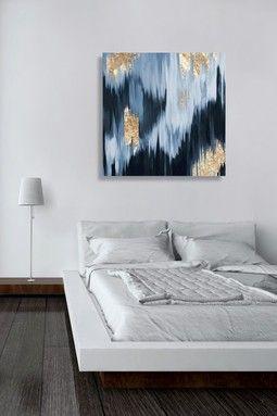 Gold Blue Fall Canvas Art