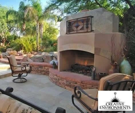 Southwest Fireplace Outdoor Fireplace Creative Environments Tempe, AZ