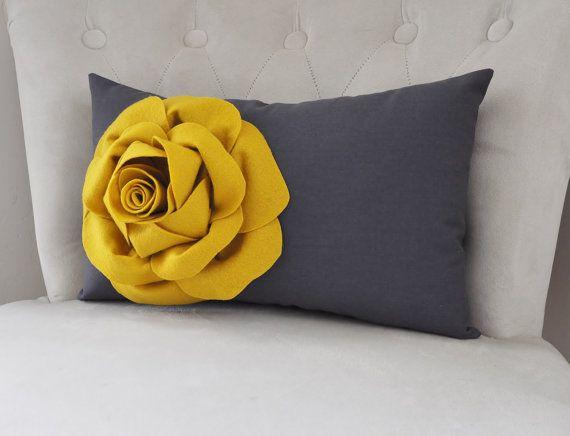 Grigio e senape Rose Fiore giallo. Oggettistica per la casa di