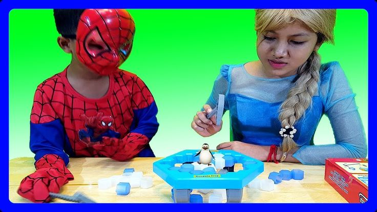 Spiderman Vs Elsa Penguin Trap Challenge Family Fun Play | Jessi and Nic...