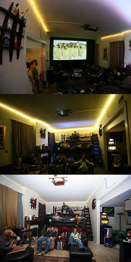 Geeks Build Three-Level Home Theater in Living Room with Couches, Wood Panels - TechEBlog hehe awesome