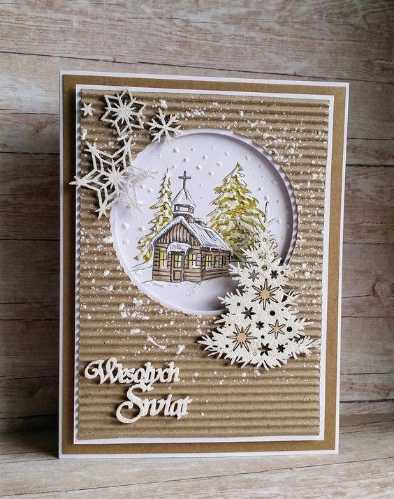 Скрапбукинг, рукоделие, Зимние, крафтовые открытки