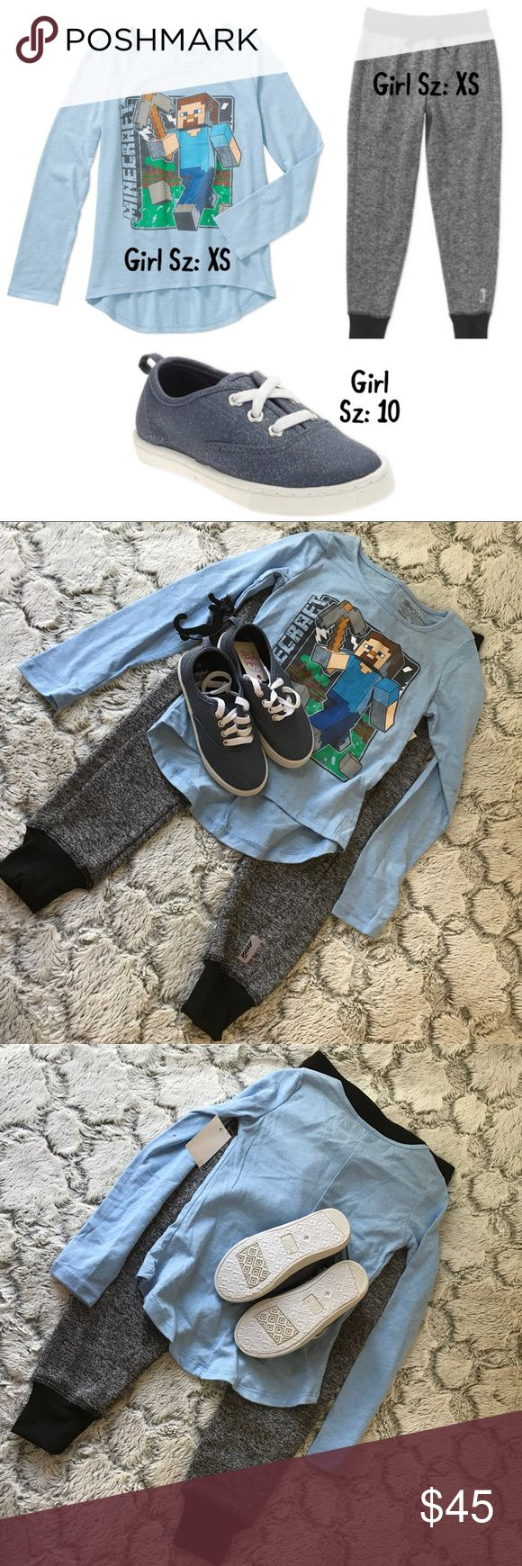 💫NWT🌷SUMMER Girl Mix/Match 3Piece Set🎁 New Girl Mix And Match 3Piece Set includes: 1 Girl Long Sleeve MineCraft Shirt Sz: XS(4-5), 1 Girl Avia Jogger Sz: XS(4-5),  and 1 Girl pair of shoes Sz: 10.   All Brand New w Tags.  Ask me about reduced shipping:) Avia Accessories