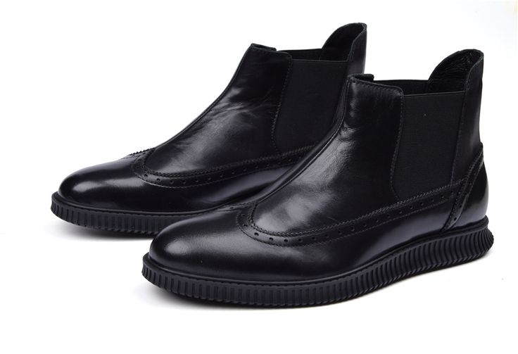 Fashion Autumn black flats mens ankle boots genuine leather boots mens outdoor causal shoes