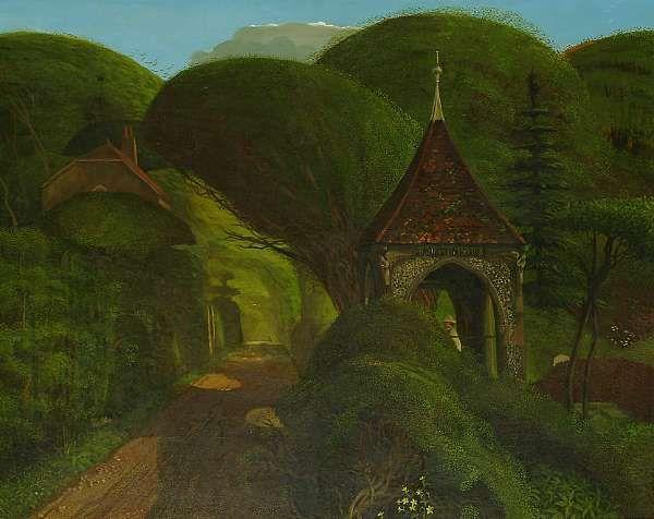 The Lychgate (1971) by John Shelley, oil on board 61 x 76cm