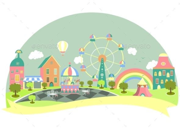 Amusement Park (JPG Image, Vector EPS, AI Illustrator, CS, amusement park, art, background, balloons, carousel, cartoon, cheerful, colorful, entertainment, fairground, family, ferris wheel, flag, fun, fun fair, graphic, happiness, happy, illustration, merry go round, ornament, rainbow, retro, spring, star, stripes, summer, tent, vector, vintage)