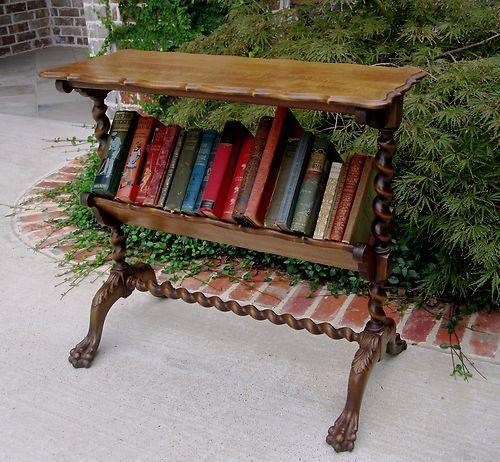 Antique English Oak Barley Twist Book Shelf Bookcase End Table Trough