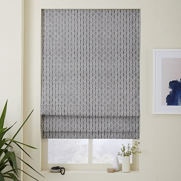 Matches the duvet cover! Mid-Century Bracket Geo Printed Roman Shade + Blackout Liner #westelm