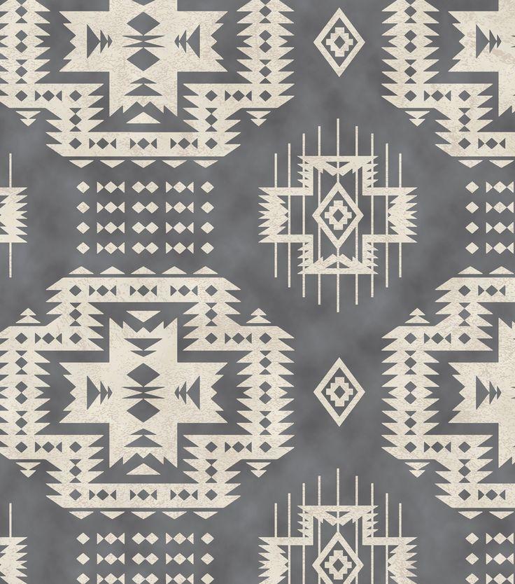 Snuggle Flannel Fabric-Grey Aztec