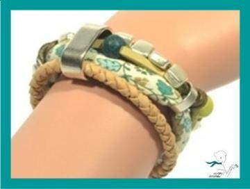 Dazzling BOHO bracelet in leather, fabric and cork * OOAK green bracelet * gift for her * womens bracelet * cork bracelet by CozyDetailz for $32.95