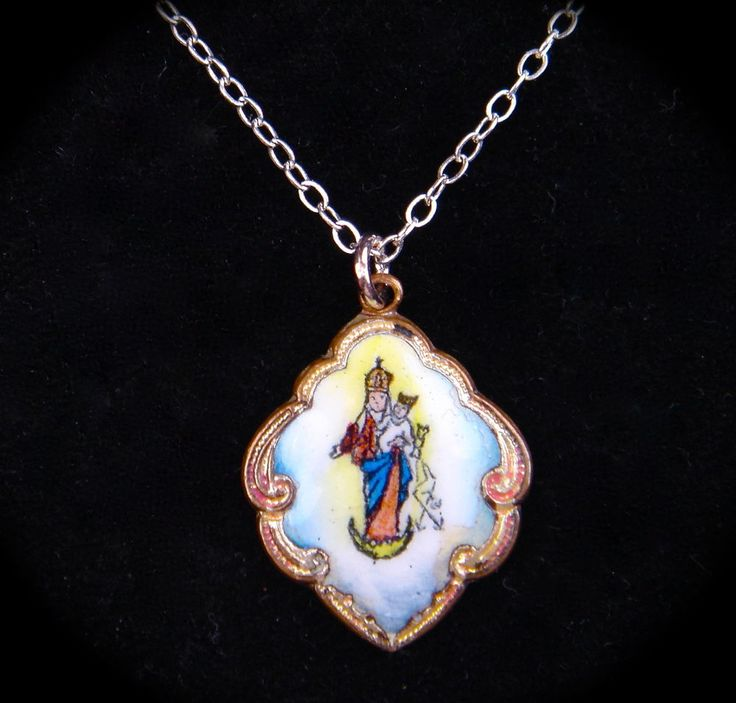 RARE Antique Vintage Christian Pendant Miniature Virgin Mary Child Enamel