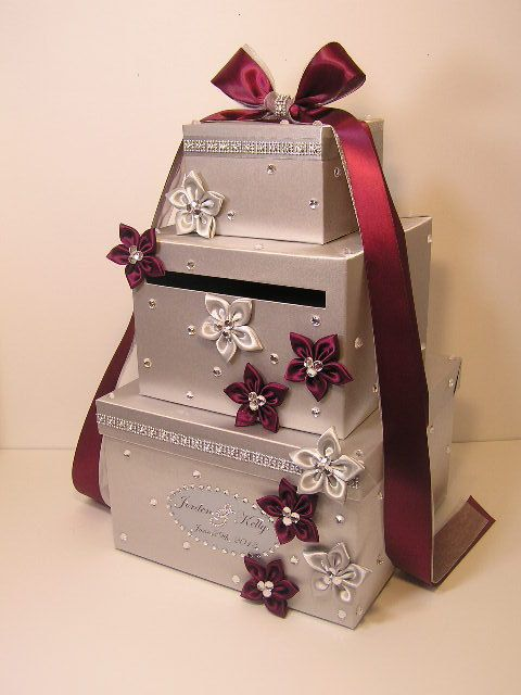 Silver Wedding Card Box Gift Card Box Money Box Holder-Customize your color via Etsy