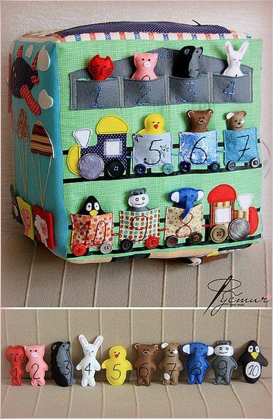 Picture of a darling train with animals. Could use finger puppets. too.