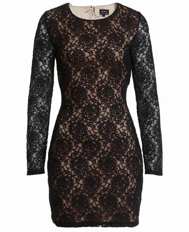 Open Back Lace Dress | 27 Boutique This little black dress is crafted in a soft lace fabric with pink underlay featuring a round neckline, full length sleeves, snug fit through the body, and cut out scalloped edging to the back with button up fastening and zip closure.