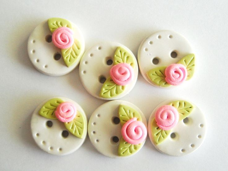 Button Tiny Rose Buds handmade polymer clay buttons ( 6 ). $7.50, via Etsy.