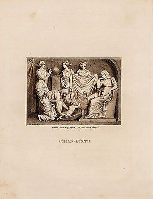 CALMET'S BIBLE DICTIONARY - CHILDBIRTH - Copper Engraving - 1801