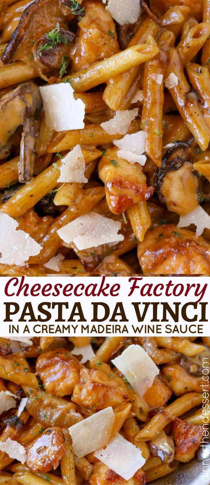 Cheesecake Factory Pasta Da Vinci is a creamy chicken madeira pasta with Parmesan Cheese you'll love!