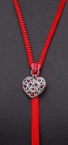 VALENTINE NECKLACE HEART Pendant Silver Red Swarovski Crystals Zipper Eccentric Dare to Wear. €30.00, via Etsy.