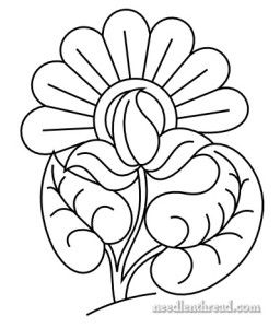 Free Hand Embroidery Pattern: Exuberant Flower - I Sew Free