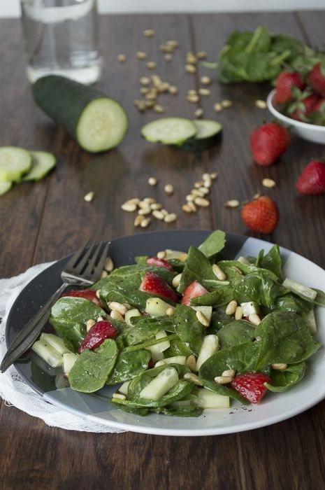 Spinach Salad with Strawberries + Roasted Pine Nuts   thefirstyearblog.com