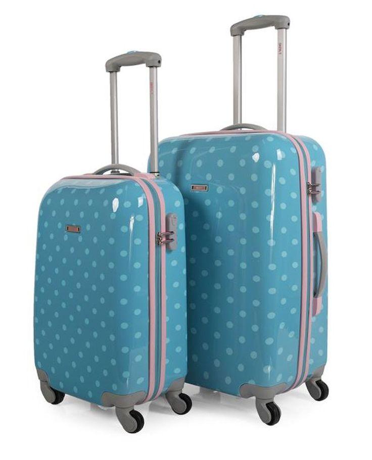 #Juego de maletas rígidas #Skpa-t con topos en dos colores