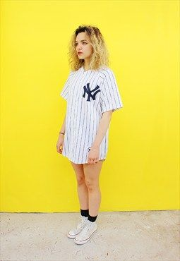 Vintage 90's Oversized New York White Baseball Jersey