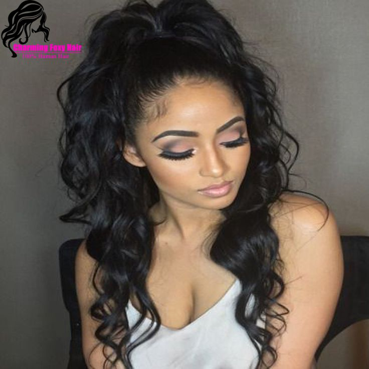 Glueless virgin malaysian full lace human hair wigs for black woman with baby hair high ponytail full lace wigs wavy