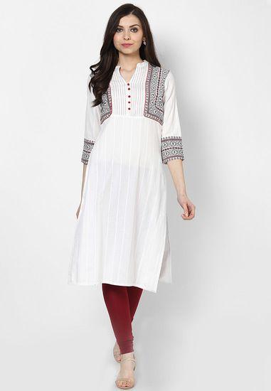 Cotton White Kurta - Rangmanch By Pantaloons Kurtas & kurtis for women   buy women kurtas and kurtis online in indium